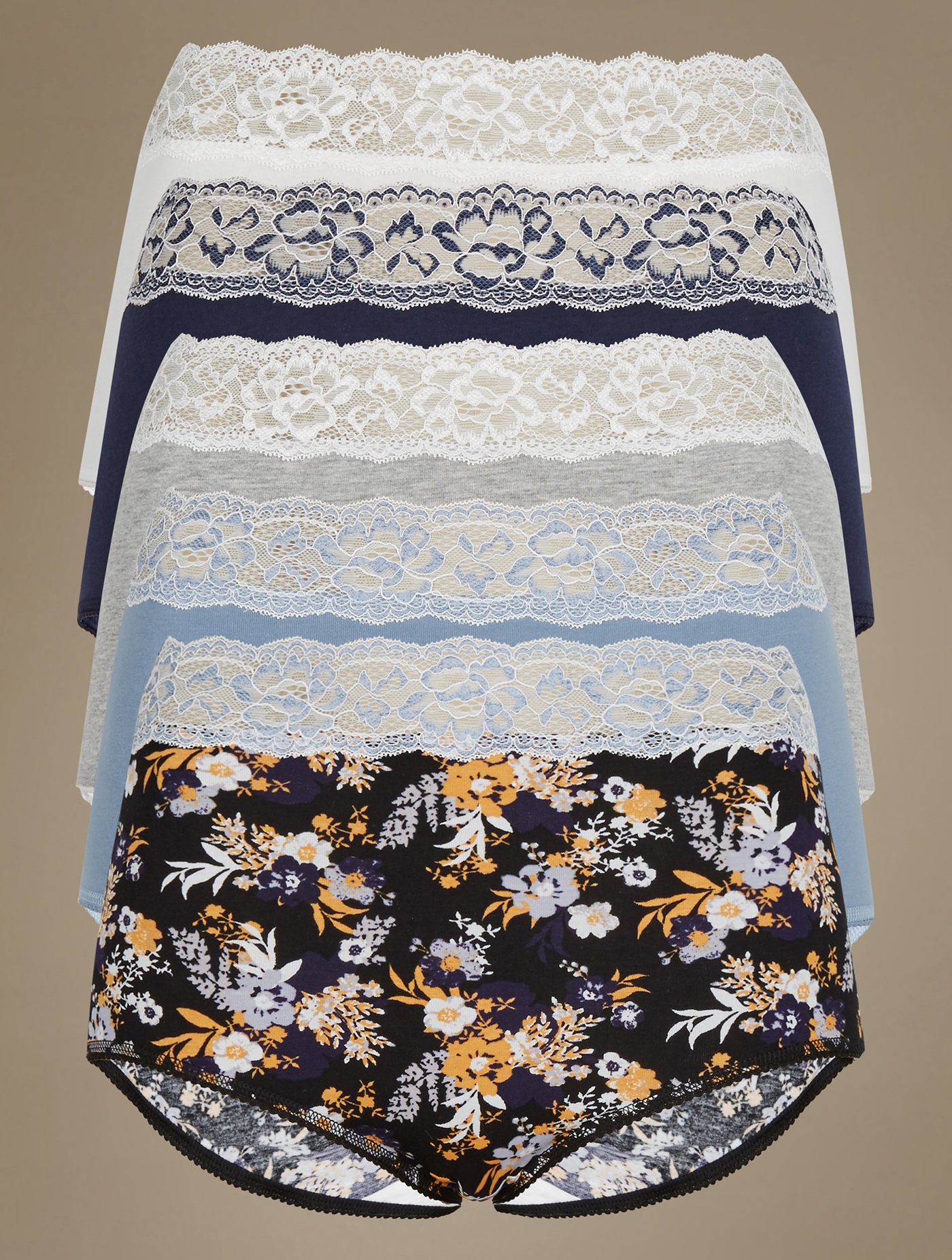 2f8b1f2bcd1 MARKS & SPENCER 5 Pack Cotton Rich Full Brief Knickers T614510P Size 12  Blue Mix